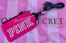 New Victoria's Secret PINK Wallet ID Case Holder Lanyard Gray Dog Logo Strap NWT