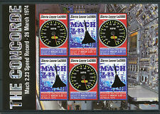 Sierra Leone 2006 MNH Concorde Mach 2.23 Speed Record 6v M/S Aviation Stamps