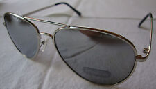 Aviator Mirrored Sunglasses Silver Metal Frame Metallic Silver Lens Womens Mens