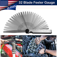 32 Blades Feeler Gauge Stainless Steel Measure Tool Feeler Gauge Metric & SAE
