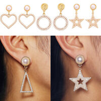 Gold Statement Stud der Ohren Herz /Kreis Long Dangle Drop Pearl Earring