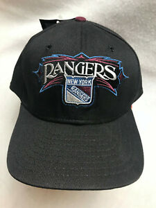 NHL New York Rangers Embroidered New Era Hat Adjustable One Size Black NEW