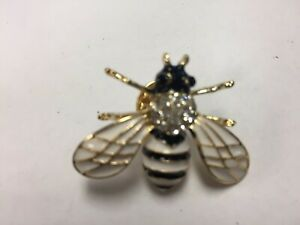 PLA16-B Black & White Bumble Bee Crystal Back Pin w/Stones Special. Free Shippin