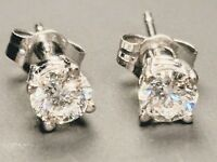 14k White Gold Round Diamond Solitaire Stud Earrings .60ct VS1 F