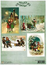 VICTORIAN VINTAGE STYLE SCENES POSTCARD CHRISTMAS CUTOUT PAPER ORNAMENT COLLAGE