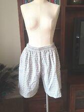 Vintage High Waist Puckered Cotton Wide Leg Shorts