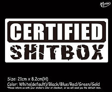 CERTIFIED SHITBOX SHIT BOX Reflective Funny Car Boat Stickers 21cm Best Gifts-