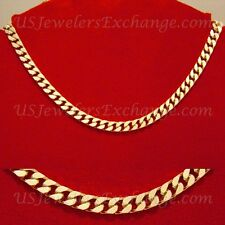 NEW CLEARANCE GOLD GP CURB CHAIN NECKLACE BRACELET 2 PC SET FAST FREE SHIP #703