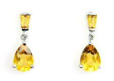 Natural 1.20cts Pear Citrine Dangle Earrings 925 Sterling Silver Gift Boxed