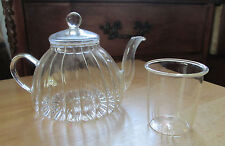 Glass Loose Tea Leaves Steeping Tea Pot with Infuser Insert with Teapot and Lid