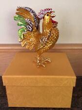 Chinese Cloisonne Inlaid Rhinestone Cock Statue Jewelry Box