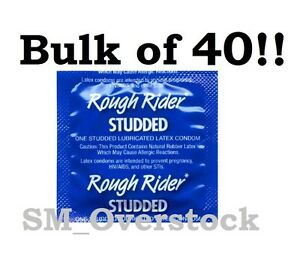 Lifestyles ROUGH RIDER STUDDED Condoms, Lubricated Latex Condom, Pack of 40!
