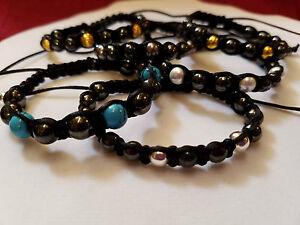 Black Magnetic Hematite with Accent Beads Shamballa Style Handmade Bracelet