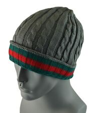 Winter Knit Twist Cable Short Beanie Hat Mens Ski Snow Board Skull Cap - Gray