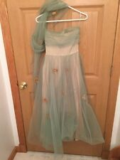 50's Filcol New York Vintage Dress Green Netting, Satin & Straw Flowers Signed