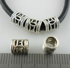 70pcs Tibetan Silver Big Hole Filigree Hollow Tube Spacer Beads 5.5x7mm