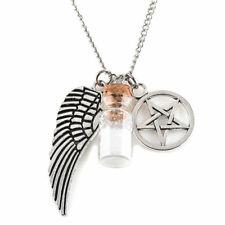 Fashion Charm Angel Wing Pentagram Salt & Burn Bottle Pendant Chain Necklace