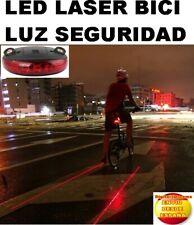 NUEVA LUZ TRASERA LED CON 2 GUIAS LASER DE CARRIL BICI SEGURIDAD PARA BICICLETA