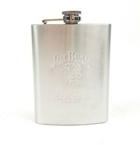 Jim Beam Kentucky Straight Bourbon Whiskey Stainless Steel Hip Flask 8 Oz