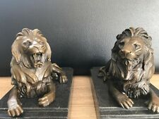 Bronzefigur Löwen Paar Tor - Wächter Marmor Stufensockel Vintage Signiert Barye