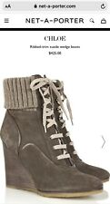 Chloe mainline Suede Wedge Ankle Boots Wool Cuff $425 Net A Porter 40.5 UK 7