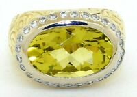 Seidengang heavy 18K YG 8.20CT VS1/F diamond & peridot cocktail ring size 6.25