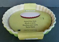 LE CREUSET Fluted Flan Dish Pie Tarte Form Palm Green Color 9 1/2 IN 24 CM