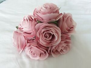 Bunch of Artificial Mauve Roses with 7 heads per bunch for Wedding or Decor