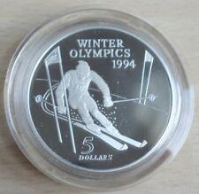 Neuseeland 5 Dollars 1994 Olympia Lillehammer Ski Alpin Silber