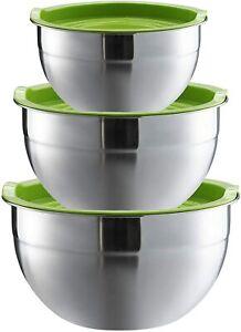 3x Edelstahl Schüssel mit Deckel Rühr Salat Servier Teig Schüsseln Schale Set