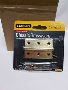 """2-1/2"""" Stanley Solid Brass (Button Tip) Hinge.2-(2pack) (Bright Solid Brass)4pcs"""