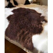 110-120CM REAL TIBETAN MONGOLIAN SHEEPSKIN LONG WOOL FUR HIDE PELT RUG Brown