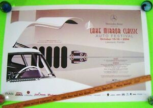 2004 LAKE MIRROR Classic Auto Fest Poster MERCEDES 300SL GULLWING Lakeland FL