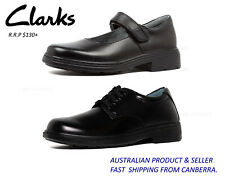 New Genuine CLARKS Boys Girls School uniform shoes Black Mary Jane Leather