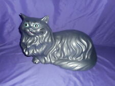 """Vtg 17"""" Ceramic Hand Painted Grey / Silver Persian Kitty Cat Figure Green Eyes"""