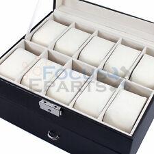 20 Grids Watch Box Glass Top Display Jewelry Organizer Storage Leather Case