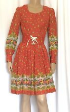 Womens Vintage Prairie MIDI Dress Calico Abstract Bohemian Corset Dress 36 Bust