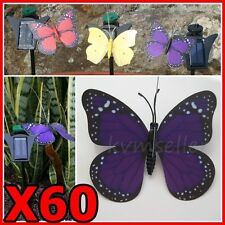 Set of 60 Solar Powered Garden Decor Dancing Flickering Purple Butterfly Stake