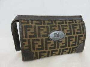 Authentic Vintage Fendi Clutch Purse FF Brown Canvas & Leather Wristlet Bag