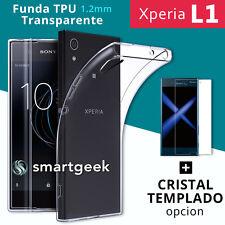 FUNDA TPU Gel TRANSPARENTE para SONY XPERIA L1 + CRISTAL TEMPLADO case glass L-1