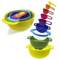 9-Piece Nesting Mixing Bowls & Measuring Cups Set for Cooking, Baking, RV Cam...