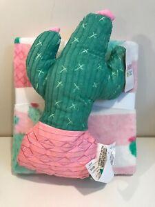 Limited Too Cactus nogginz pillow & travel throw set blanket girls pink & green