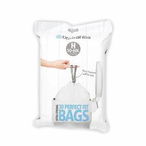 Brabantia 50-60L Litre Bin Liners Waste Bags Type H Size Smart Dispenser Pack 30