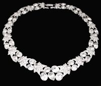 COUTURE SWAROVSKI SIGNED CRYSTAL RHINESTONE Vtg Silver Choker Collar Necklace