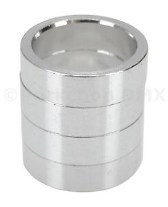 """Bicycle BMX or MTB headset spacers for 1 1/8"""" threadless (SET of 4) 10mm SILVER"""