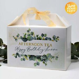 PERSONALISED Large Green Eucalyptus Afternoon Tea Birthday White Box Gift