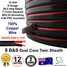 New 12m 8B&S DUAL BATTERY CABLE 8 B S Twin 2 Core Auto Metre B&S 8BS BS Wire 12V