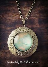 Vintage gold world map print Glass Dome travelers photo locket sweater necklace
