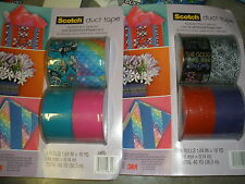 """2 New Boxes Scotch Printed Duct Tape 1.88""""X10yd 8 Rolls Total Assorted Designs"""