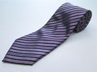Brioni Dark Blue Purple Textured Striped Hand Made Italian All Silk Necktie EUC